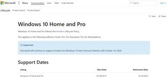 L'aggiornamento sul sito Web di Microsoft mostra la data di fine del supporto di Windows 10.