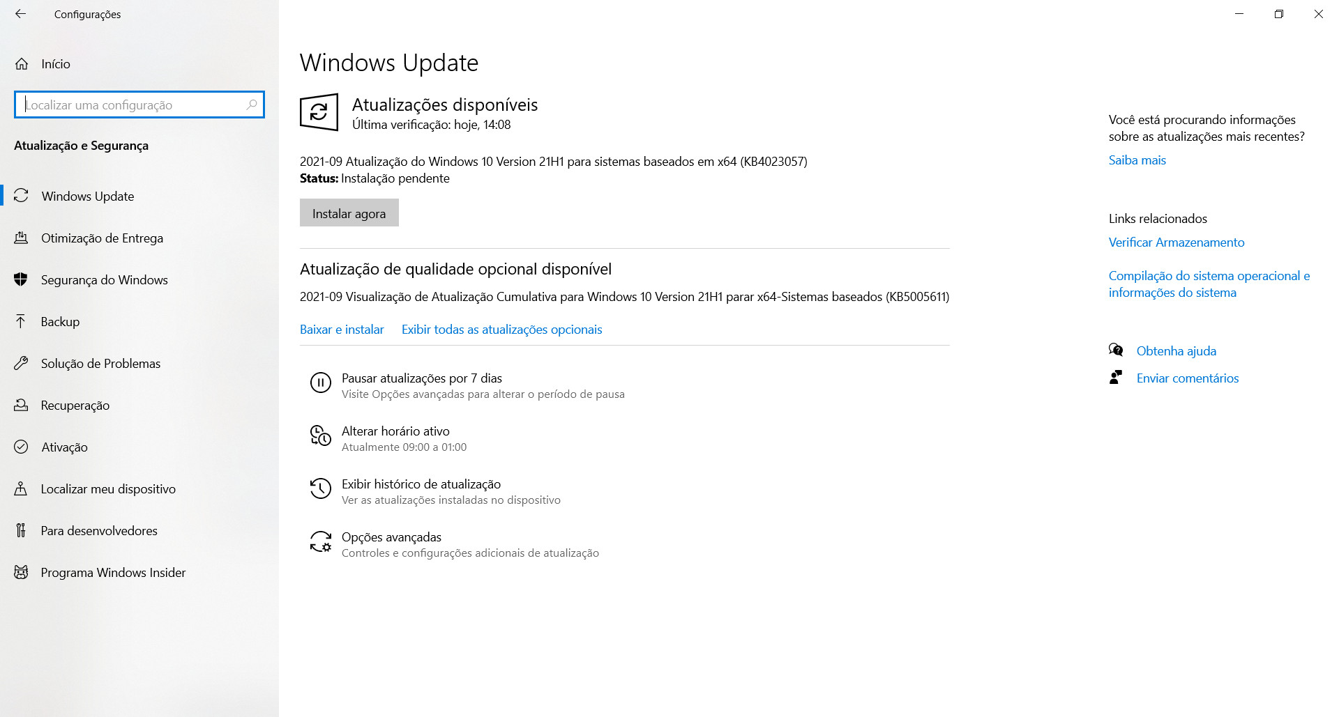 La patch KB5005611 deve essere installata manualmente.  (Fonte: Windows 10/Riproduzione)